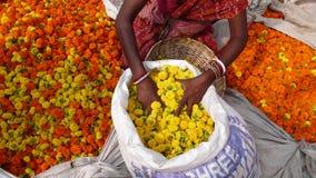 Blommamarknad. Kolkata. Indien Arkivbilder