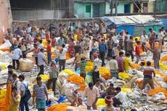 Blommamarknad, Kolkata, Indien Fotografering för Bildbyråer