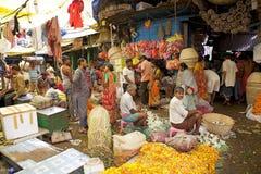 Blommamarknad, Kolkata, Indien Arkivfoton