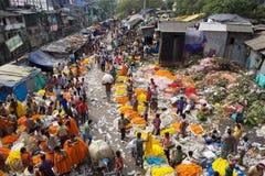 Blommamarknad, Kolkata, Indien Arkivbilder