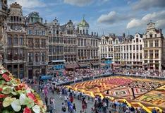 Blommamatta i Grand Place av Bryssel Royaltyfri Bild