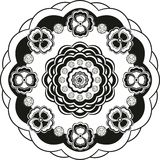 Blommamodell i svartvit cirkel Arkivbilder