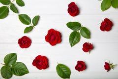 Blommamodell som göras från röda rosor och sidor ovanför sikt Royaltyfri Bild