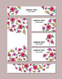 Blommamodeller av olika format med stiliserade rosor, med buketter av härliga rosor För romantiker och den easter designen royaltyfri illustrationer