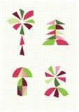 Blomman gömma i handflatan, plocka svamp, gran, Tangramdiagram Arkivfoto