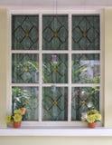blomman lägger in fönstret Royaltyfria Bilder