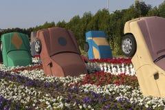Blomman parkerar i Dubai (den Dubai mirakelträdgården) förenade arabiska emirates Fotografering för Bildbyråer