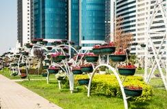 Blomman parkerar i Grozny Arkivfoto