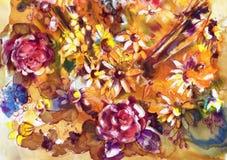Blommande äng, vattenfärg Arkivfoto