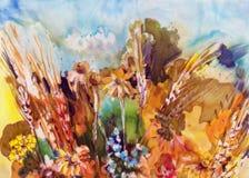 Blommande äng, vattenfärg Fotografering för Bildbyråer
