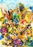 Blommande äng, vattenfärg Royaltyfri Bild