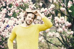 Blommande och tillväxt Ny liv och optimism Man att borsta hår parkerar in med att blomstra träd royaltyfri bild