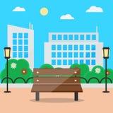 Blommande sommarcityscape för plan stil med bänk- och gataljus Arkivfoto