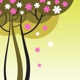 Blommande träd med blommor Fotografering för Bildbyråer