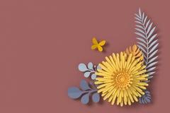 Blommapappersstil, blom- pappers- hantverk, fjärilspappersfluga, tolkning 3d, med den snabba banan royaltyfri illustrationer