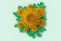Blommapappersstil, blom- pappers- hantverk, tolkning 3d, med den snabba banan royaltyfri illustrationer