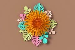 Blommapappersstil, blom- pappers- hantverk, tolkning 3d, med den snabba banan vektor illustrationer