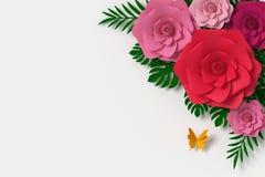 Blommapappersstil, färgrik ros, blom- papercraft, fjärilspappersfluga, tolkning 3d, med den snabba banan vektor illustrationer