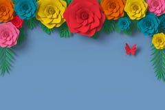 Blommapappersstil, färgrik ros, blom- pappers- hantverk, fjärilspappersfluga på blå bakgrund, tolkning 3d, med den snabba banan royaltyfri illustrationer