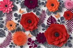 Blommapappersstil, färgrik ros, blom- pappers- hantverk, fjärilspappersfluga på vit bakgrund, tolkning 3d, med den snabba banan royaltyfri illustrationer