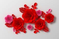 Blommapappersstil, färgrik ros, blom- pappers- hantverk, tolkning 3d, med den snabba banan vektor illustrationer