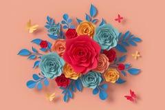 Blommapappersstil, f?rgrik ros, blom- pappers- hantverk, fj?rilspappersfluga, tolkning 3d, med den snabba banan vektor illustrationer