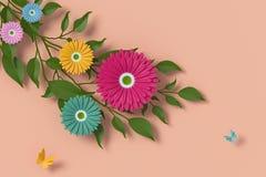 Blommapappersstil, f?rgrik ros, blom- pappers- hantverk, fj?rilspappersfluga, tolkning 3d, med den snabba banan royaltyfri illustrationer