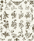 blommaprydnadsilhouette Arkivbilder