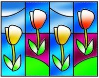 blommar befläckt exponeringsglas Royaltyfri Bild