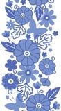 Blommar blå holländare för delftfajans den vertikala sömlösa modellen stock illustrationer