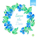 Blommar blom- kransar för vektorvattenfärg med blå sommar Spara datummallen Royaltyfri Bild