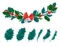 Blommar dekorativa sidor järnek och filialer för jul med vintergrön vinter för röda bär den blom- växtvektorillustrationen vektor illustrationer