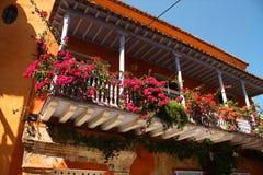 blommar den koloniala detaljen för balkongen huset Royaltyfri Fotografi