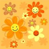 blommar den lyckliga tegelplattan stock illustrationer