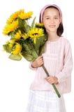 blommar den nätt flickan Royaltyfri Fotografi