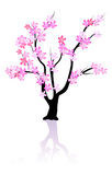 blommar den rosiga treen stock illustrationer