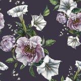 Blommar den sömlösa modellen för blomman med pioner och datura royaltyfri illustrationer