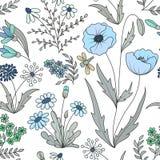 Blommar den sömlösa modellen för härlig tappning med den färgrika lösa våren på en vit bakgrund Royaltyfri Foto