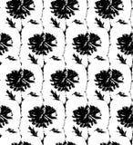 Blommar den sömlösa modellen för vektorn med den drog färgpulverhanden illustrationen på vit Royaltyfri Fotografi