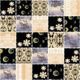 Blommar den sömlösa retro modellen för patchworken bakgrund Royaltyfri Fotografi