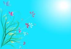 Blommar det gulliga kortet för den utsmyckade hälsningen Arkivbilder