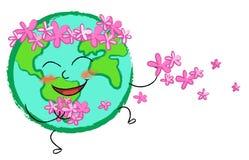 blommar det lyckliga jordklotet Royaltyfria Bilder