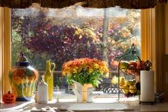 blommar fönsterbräda Royaltyfria Foton
