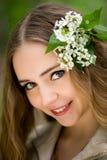 blommar flickahår henne Royaltyfri Fotografi