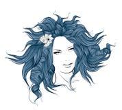 blommar flickahår henne stock illustrationer