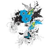 blommar flickan vektor illustrationer