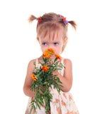 blommar flickan little Royaltyfria Foton