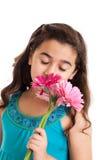 blommar flickan little Fotografering för Bildbyråer