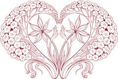 blommar formad hjärta vitt Royaltyfri Foto
