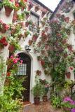 Blommar garnering av borggården, typisk hus i Spanien, Europa fotografering för bildbyråer